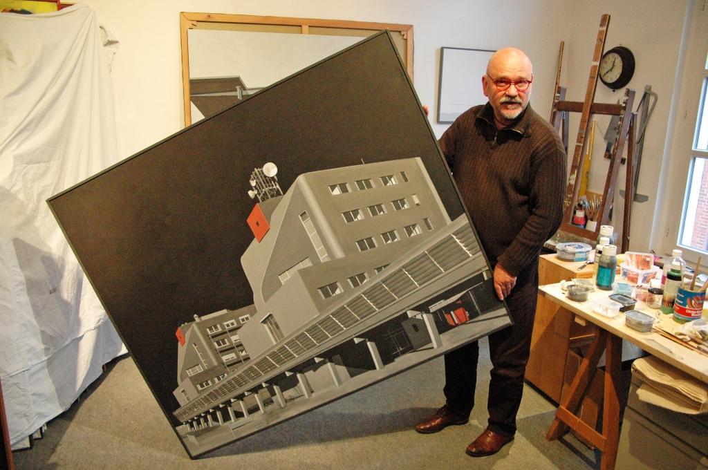 Der Maler Dieter van Offern am 11. Juni 2009 in seinem Atelier in Coesfeld. (Foto: Wolfgang Weßling)